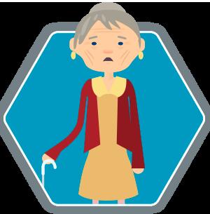 Elderly woman suffering from dysphagia